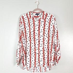 Stripe and Polka Dot Button Front Blouse